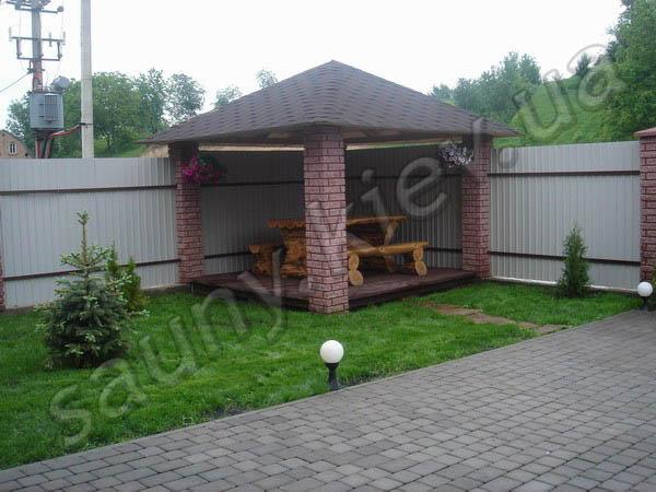 Дизайн двора частного дома фото с беседкой